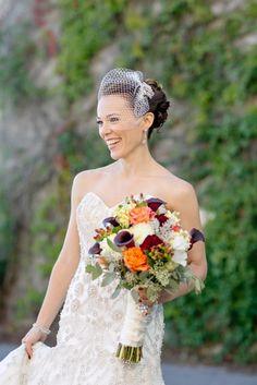 Bridal bouquet with free spirit roses, Schwalder purple calla lilies,   dahlias, lizyanthus
