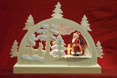 Candle Arches Fret Saw Work Mini Lightarch - Santa in Forest - / inches After Christmas, Christmas Scenes, Christmas Holidays, Christmas Crafts, Christmas Decorations, Xmas, Christmas Cookies, Fret Saw, Mini