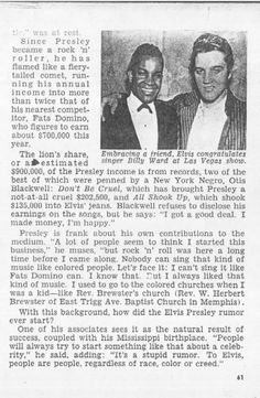 The JET Magazine article of 1957 | The Truth About That Elvis Presley Rumor - Interview by Louie Robinson, Associate Editor of the Black-Owned JET Magazine -