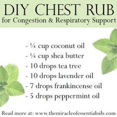DIY Essential Oil Chest Rub for Congestion & Respiratory Support - The Miracle of Essential Oils Essential Oils For Congestion, Oils For Sinus, Are Essential Oils Safe, Essential Oil Uses, Young Living Essential Oils, Essential Oil Diffuser, Oil For Cough, Chest Congestion Remedies, Sinus Congestion