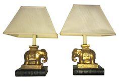 Gold Gilt Elephant Lamps, Pair