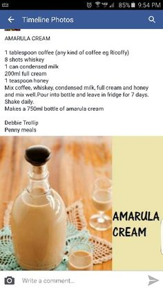 Amarula Cocktail Drinks, Cocktail Recipes, Alcoholic Drinks, Beverages, Homemade Alcohol, Homemade Liquor, Glace Fruit, Kos, Alcohol Drink Recipes