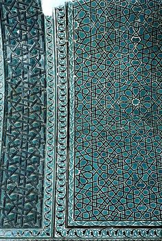 Image TUR 0316 featuring interior dome from the Karatay Medrese, in Konya, Turkey, showing Geometric Pattern and Floriated Arabesque using ceramic tiles, mosaic or pottery.