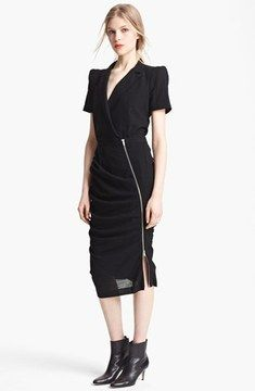 Band of Outsiders Short Sleeve Ruched Wool Dress on shopstyle.co.uk
