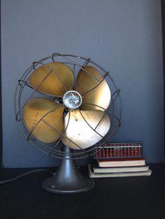 Vintage Emerson Electric fan with brass blades, desktop fan, office decor, industrial decor by justynamrugala on Etsy