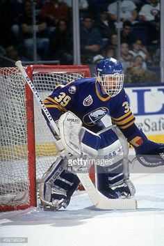 goalie-dominik-hasek-of-the-buffalo-sabres-defends-the-net-during-an-picture-id459196094 (409×612) Hockey Logos, Hockey Goalie, Hockey Games, Field Hockey, Hockey Players, Ice Hockey, Goalie Mask, Buffalo Sabres, National Hockey League