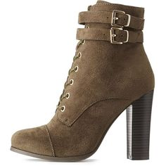 Charlotte Russe Wide Width Lace-Up Chunky Block Heel Booties ($30) ❤ liked on Polyvore featuring shoes, boots, ankle booties, olive, olive green booties, faux suede lace-up booties, charlotte russe booties, stacked heel booties and chunky booties