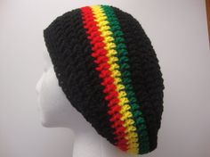 Slouchy Hat Rasta hat gift idea hand crochet by Yarnhotoffthehook Hand Crochet, Knit Crochet, Crochet Hats, Crochet Ideas, Slouchy Hat, Beanie, Ski Hats, Really Cool Stuff, My Girl