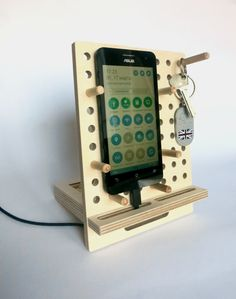 SALE 25%  Mens gift phone dock iphone stand kitchen by OlaDiClock