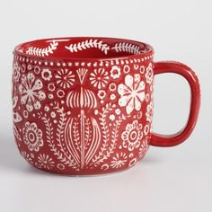 Red Jolly Hearts Mugs Set of 4 - v1