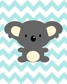 One dark grey wall with salmon or yellow chevron! Koala on blue chevron - nursery art baby shower - digital print - on via Etsy. Baby Animals, Cute Animals, Baby Posters, Baby Koala, Blue Chevron, Baby Boy Rooms, Kids Prints, Baby Decor, Cute Illustration