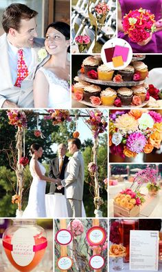 {Deep Red, Fuchsia and Apricot or mustard yellow} Beach Wedding Color Palettes We LoveTheKnot.com -