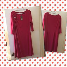 """BNWT Fuchsia Pink Travel Knit Dress Brand:  Ava - Marisota Colors: fuchsia pink Condition: brand new with tags Sizing:  12-Large / chest 38-40"""", length from center 41"""" Fabric: polyester & elastane  Care: machine wash Special features: BNWT, high quality item, soft v-neck, 3/4 sleeve, gold bar design, travel knit material & very figure flattering!  • Open to offers  • Fast shipping • Many versatile items available, feel free to check out my closet! Ava by Marisota Dresses"""