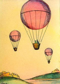 Original ACEO Painting Romantic hot air balloon by PainterNik, $35.00