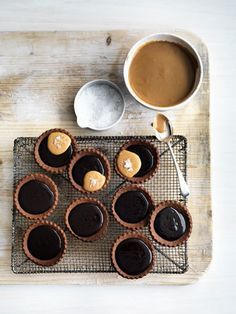 Chocolate Ganache Tarts with Salted Fluffy Peanut Nutter and Strong Coffee