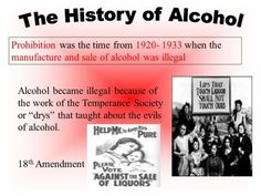 Prohibition was the time from 1933 when the manufacture and sale of alcohol was illegal Alcohol became illegal because of the work of the Temperance. Temperance Movement, Active Ingredient, Drugs, Acting, Medicine, Alcohol, Politics, Rubbing Alcohol, Medical
