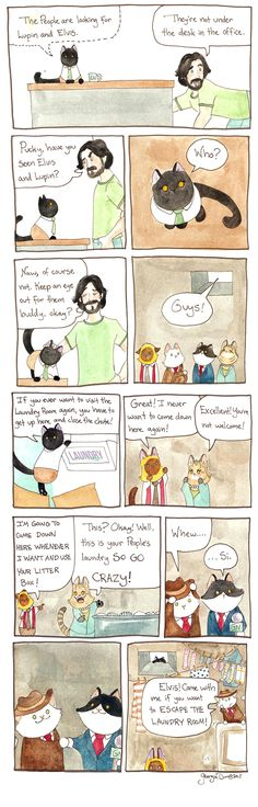 Breaking Cat News: The People are looking for Lupin and Elvis! Cat Comics, Funny Happy, Calvin And Hobbes, Political Cartoons, Comic Strips, Funny Pictures, Kitty, Guys, People