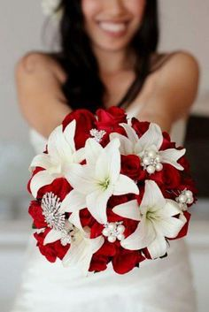 Wedding bouquet is an important part of the bridal look. Looking for wedding bouquet ideas? Check the post for bridal bouquet photos! Wedding Brooch Bouquets, Bride Bouquets, Red Bouquet Wedding, Red Wedding Flowers, Broach Bouquet, Purple Bouquets, Red And White Weddings, Red And White Wedding Decorations, Wedding Themes Red