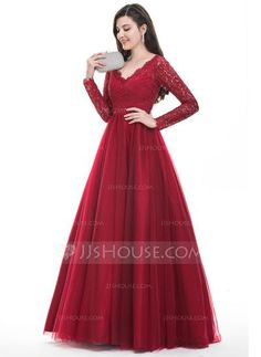 Ball-Gown V-neck Floor-Length Beading Sequins Zipper Up Sleeves Long Sleeves No Burgundy Winter Spring Summer Fall General Plus Tulle Hight:5.7ft Bust:32in Waist:24in Hips:35in US 2 / UK 6 / EU 32 Prom Dress