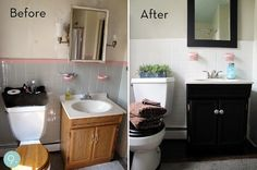 Bathroom makeover (for those of us who don't deserve to have pink bathrooms...shudder)