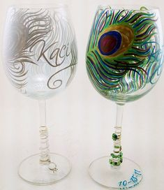beec8755dba1 Hand Painted Glassware Peacock Style 2 by RaveOnDesigns on Etsy. Wine Glass  ...