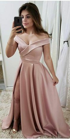 Simple Pink Satin Side Slit Prom Dress Custom Made Off Shoulder School Dance Dresses Fahion Long Evening Party Dresses Source by gowns Junior Dresses, Sexy Dresses, Evening Dresses, Fashion Dresses, Homecoming Dresses, Bridesmaid Dresses, Wedding Dresses, Mode Kimono, School Dance Dresses
