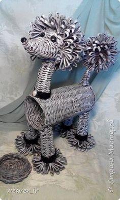 Поделка изделие Плетение Пудель Подставка под вино Бумага газетная фото 1
