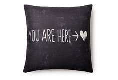 "One Kings Lane - Pillow Talk - ""You Are Here"" 20x20 Pillow, Black"
