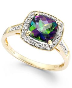 Mystic Topaz (1-5/8 ct. t.w.) and Diamond Accent Ring in 10k Gold - Rings - Jewelry & Watches - Macy's