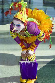 Clown (ess) from Cirque de Soleil - a Greeting Card Clown Cirque, Circus Clown, Circus Party, Dark Circus, Pantomime, Pierrot Clown, Female Clown, Send In The Clowns, Clowning Around