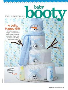 """Forget that this is one of those baby shower """"diaper cakes""""...this would be super cute as a *real* layered cake!"""