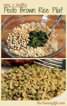 Pesto Brown Rice Pilaf. An easy, delicious, nutritious side dish. www.TheYummyLife.com