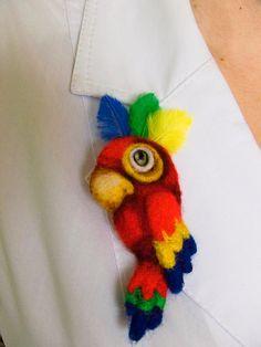 """Felt brooch """"Parrot"""" - pinned by pin4etsy.com"""