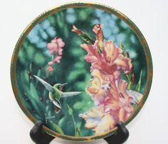 Pickard Calliope Hummingbird and Gladioli by by GatosCollectibles, $25.00