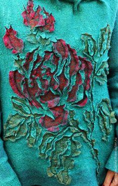 Кофты и свитера ручной работы. Свитер валяный Любимые розы. Марина Власенко. Ярмарка Мастеров. Шерстяной свитер, шерсть 100%: