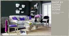i love the dark gray walls, the contrast with the white, and the purple accent. [funny how the purple is a deeper hue in the catalog. idk which purple to trust!]