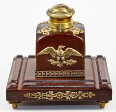 Antique French 2nd Empire Wood Ormolu Inkwell Pen Tray with Napoleonic Eagle | eBay
