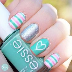 Today I present you a big nail art picture collection called 37 Cute Nail Art Designs with pictures of perfect manicure ideas by professional nail technicians. These nail arts are perfect for women who want. Cute Nail Art, Beautiful Nail Art, Gorgeous Nails, Love Nails, Pretty Nails, Teal Nails, Nail Art Kids, Nail Pink, Nail Nail