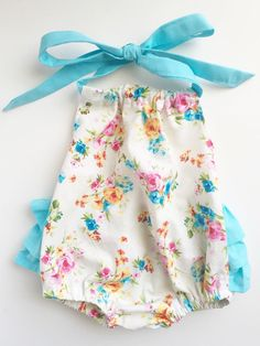 White Floral Sunsuit Romper Sundress by TheCrankyPeach