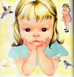 """Golden Book About God, Eloise Wilkin, 1956- Serious    from """"My Little Golden Book About God"""", Little Golden Book,  1956/1975by Jane Werner WatsonIllustrations by Eloise WilkinSerious thinking"""