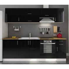 cuisine laquée blanche, plan de travail granit noir   cuisine