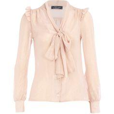 Nude chiffon pussybow blouse ($43) ❤ liked on Polyvore featuring tops, blouses, shirts, blusas, brands at dp, closet, women's clothing, chiffon shirt, pink chiffon blouse and ruffle shirt