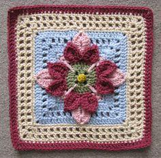 """Ravelry: 12"""" Fuschia Afghan Block pattern by Abigail Bailey"""