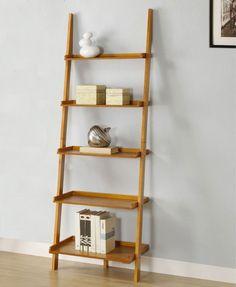 Wall Book Shelf Leaning Shelves Ladder Display Bookcase Wood Rack Holder Stand  #Modern