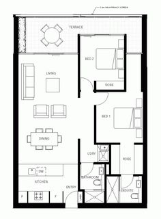 Floor Plan for 969 sq ft home. Could be smaller, but I like the layout.