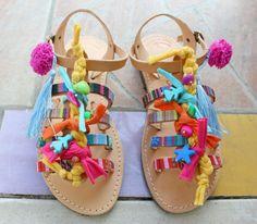 Pompom greek Sandals,Boho sandals,decorated gladiators, womens boho sandals, handmade sandals, nu-pieds pompons, sandales grecques cuir