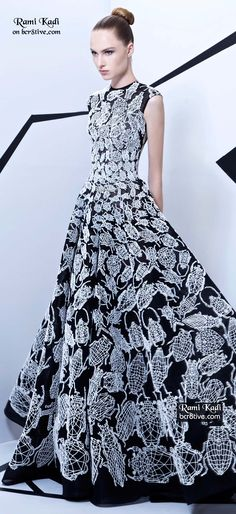 Rami Kadi Haute Couture - Hand Embroidered Evening Gown