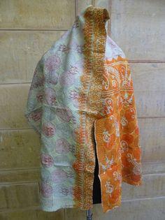 Vintage Silk Kantha Scarves, Kantha Silk Scarve, Handmade Silk Scarf, Silk 046 #Handmade