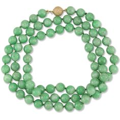 30 Natural Green Jadeite Jade Bead Necklace On 14K Yellow Gold Frosted... (22.315 HRK) ❤ liked on Polyvore featuring jewelry, necklaces, gold jewelry, jade jewelry, gold jewellery, jade bead necklace and green necklace