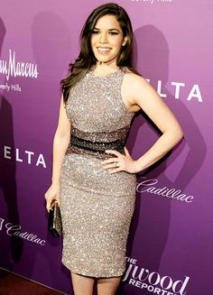 America Ferrera shined on the red carpet for the Hollywood Reporter's Nominees Night bash for the 2015 Oscar noms, held at Spago in Beverly Hills Feb. 2.